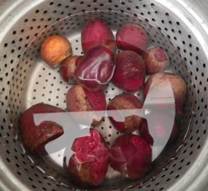 Beets ready for cooking into a beet soup