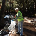 Picking up trash at Yosemite Falls picnic area