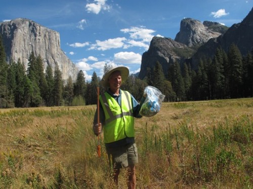 Ken with trash haul in Bridalveil Meadow.
