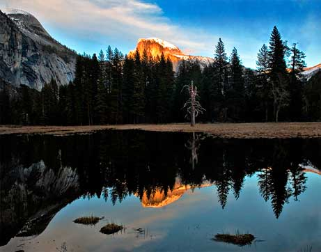 Half Dome and reflection