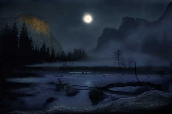 Moonlit Yosemite Valley